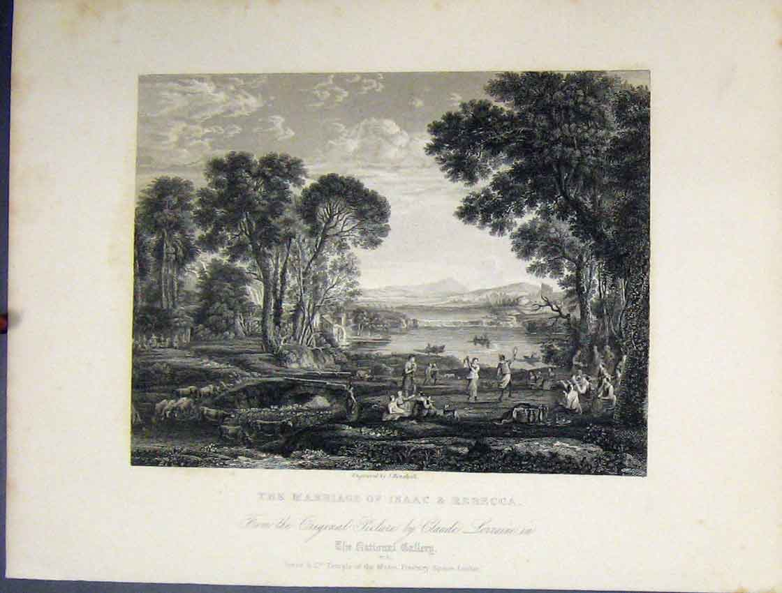Print Scene Marriage Isaac Rebecca C1860 National Gallery 199B245 Old Original