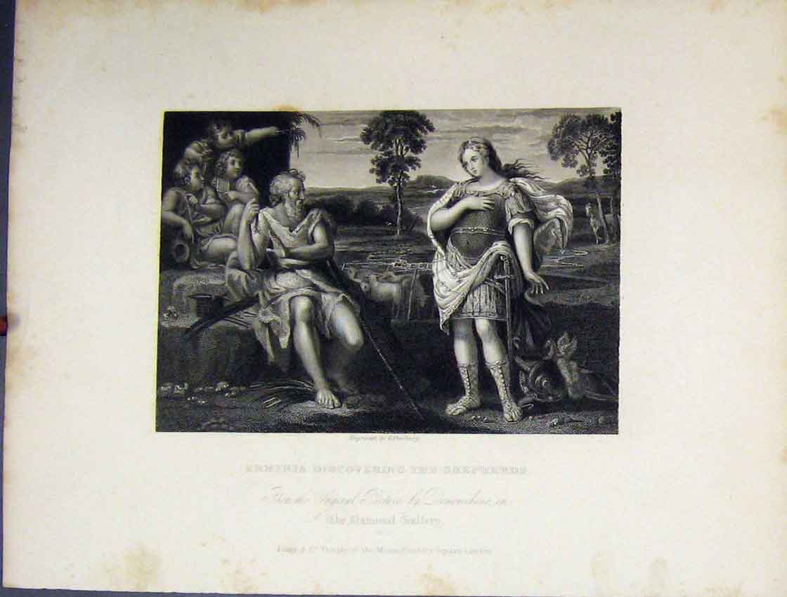 Print Erminia Discovering Shepherds C1860 National Gallery 201B245 Old Original