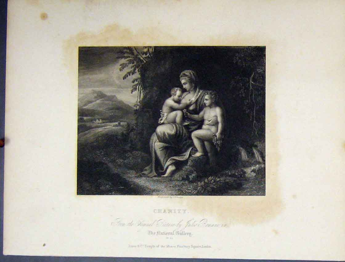 Print C1860 National Gallery View Charity Woman Children 203B245 Old Original
