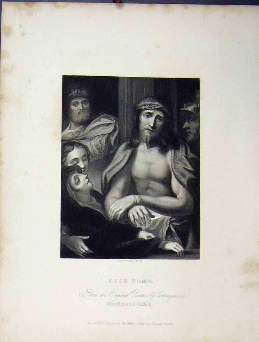 Print C1860 Bible Study Scene Ecce Homo National Gallery 204B245 Old Original