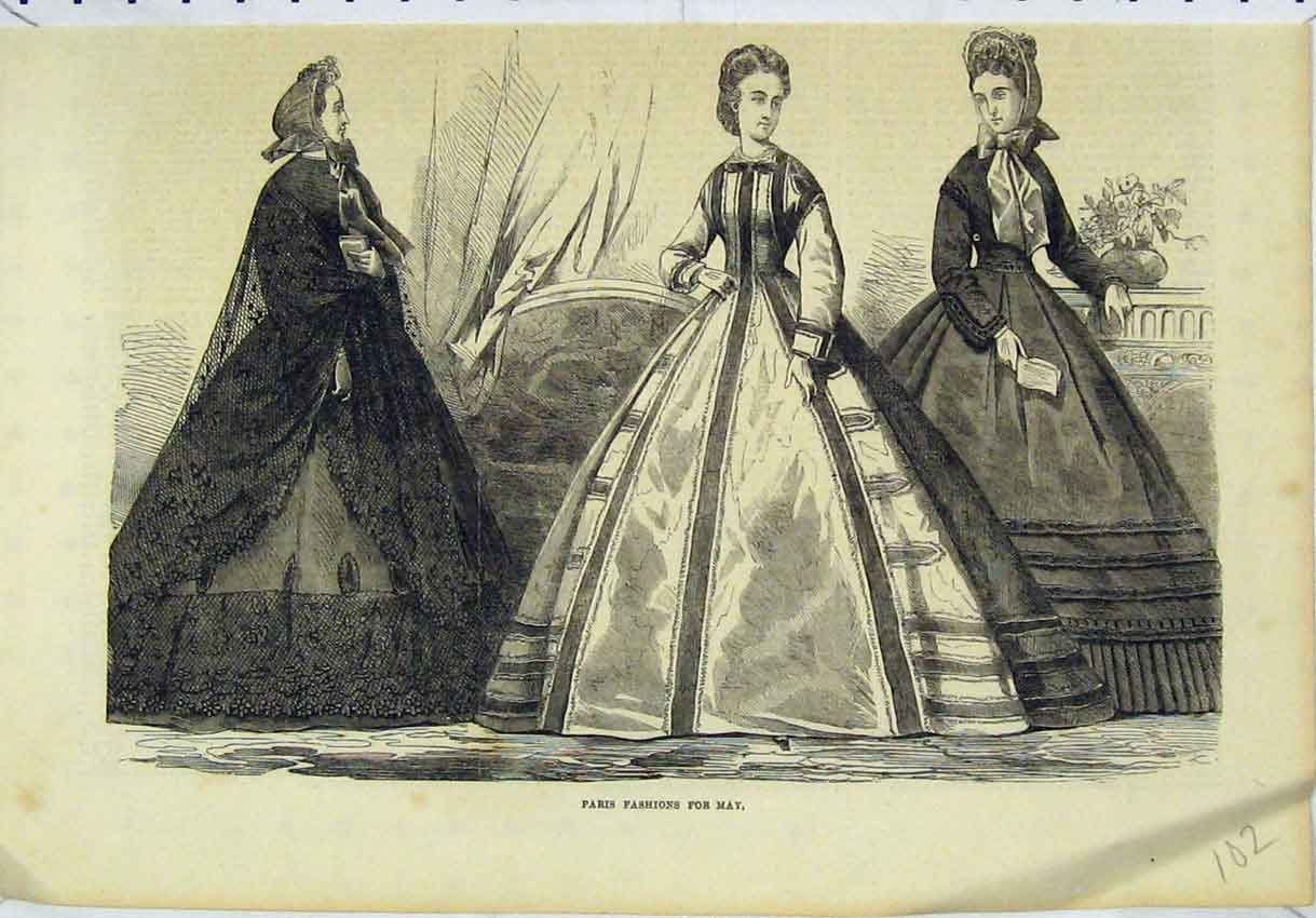 Print Women Beautiful Dresses Paris Fashions May 102B246 Old Original