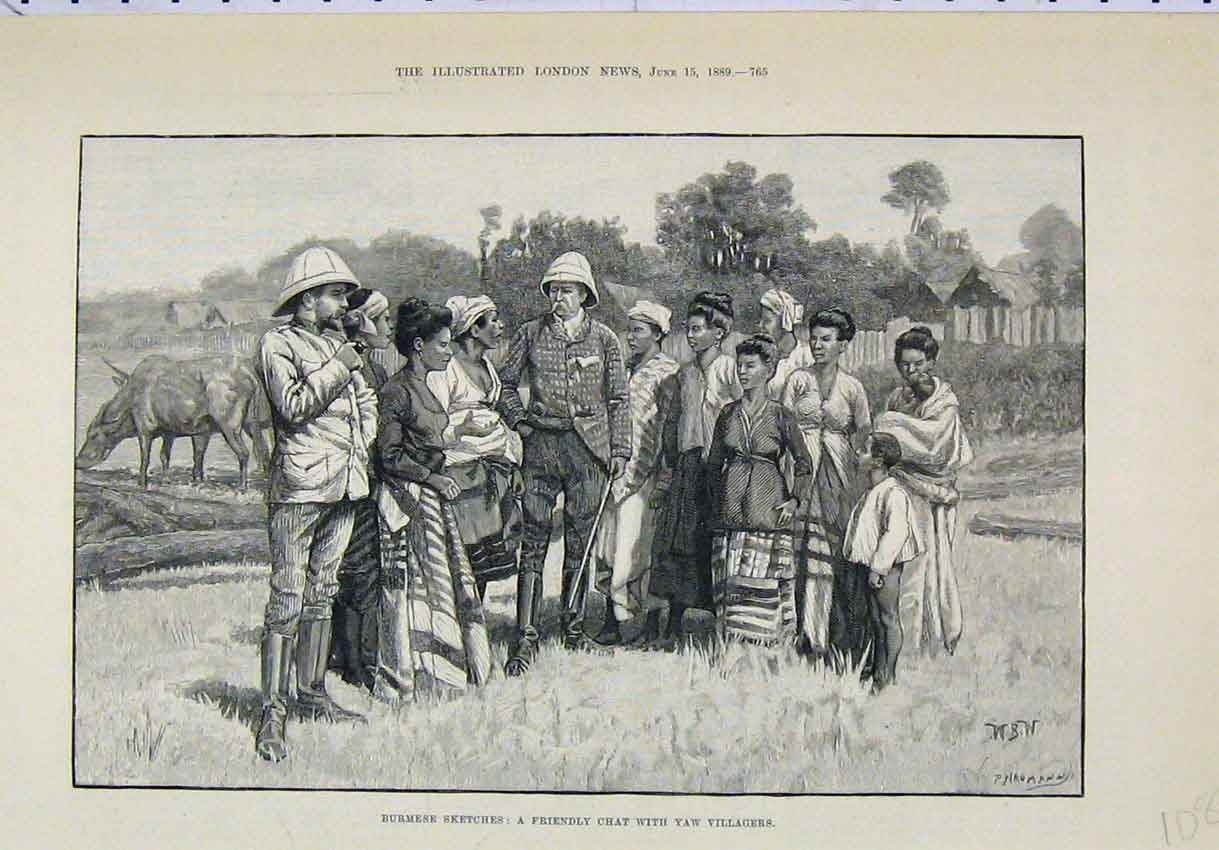 Print 1889 Burmese Sketches Friendly Chat Villagers 108B246 Old Original