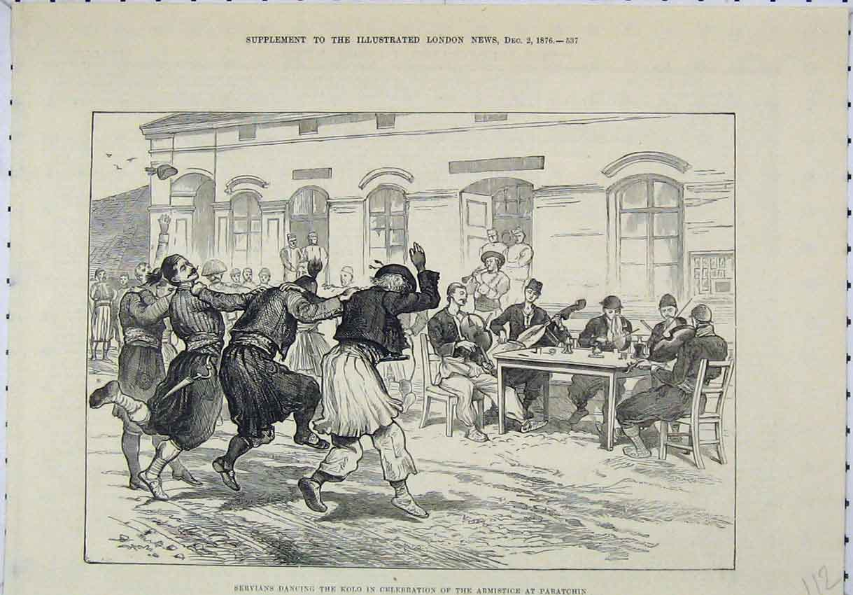 Print 1876 Servians Dancing Kolo Celebration Armistice 112B246 Old Original