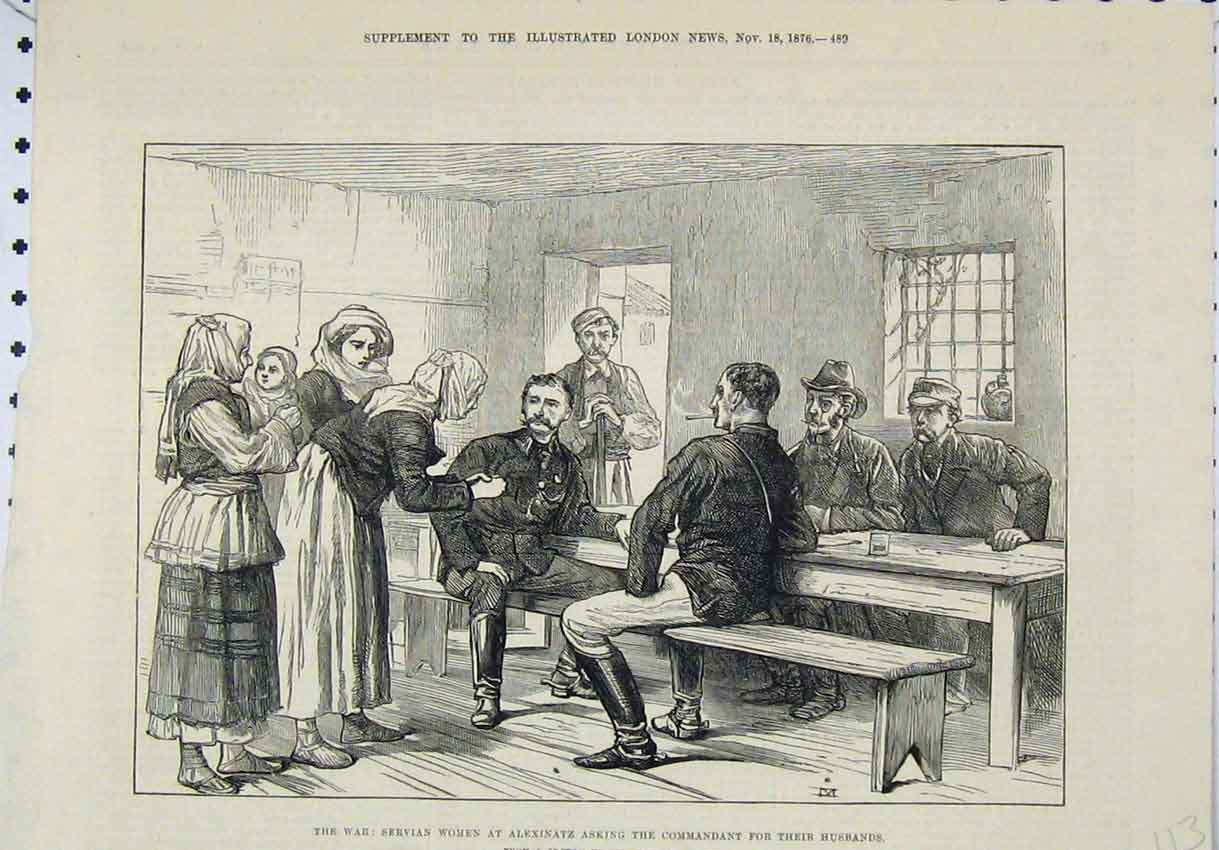 Print 1876 War Servian Women Alexinatz Commandant Husbands 113B246 Old Original