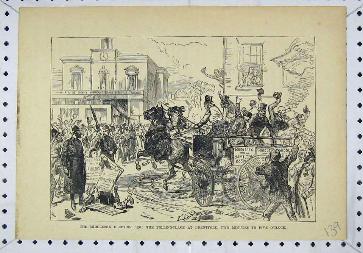 Print Middlesex Election Polling Place Brentford Street Scene 139B246 Old Original