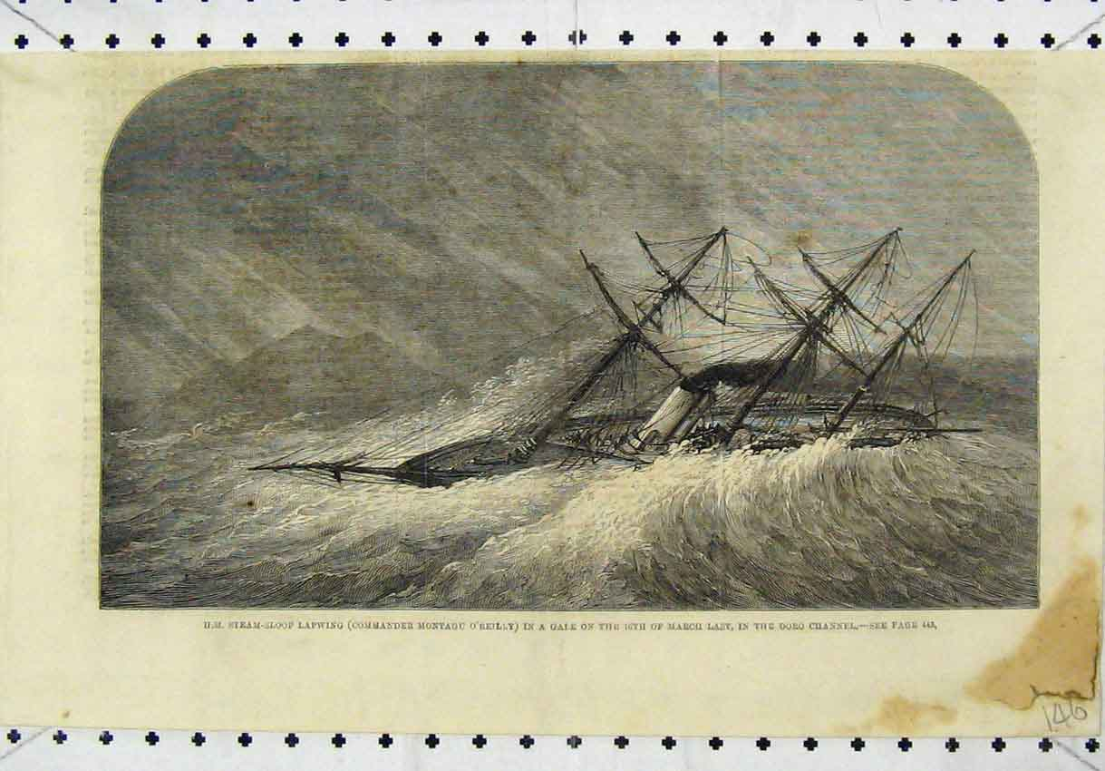 Print Steam-Sloop Lapwing Stormy Sea Doro Channel 146B246 Old Original