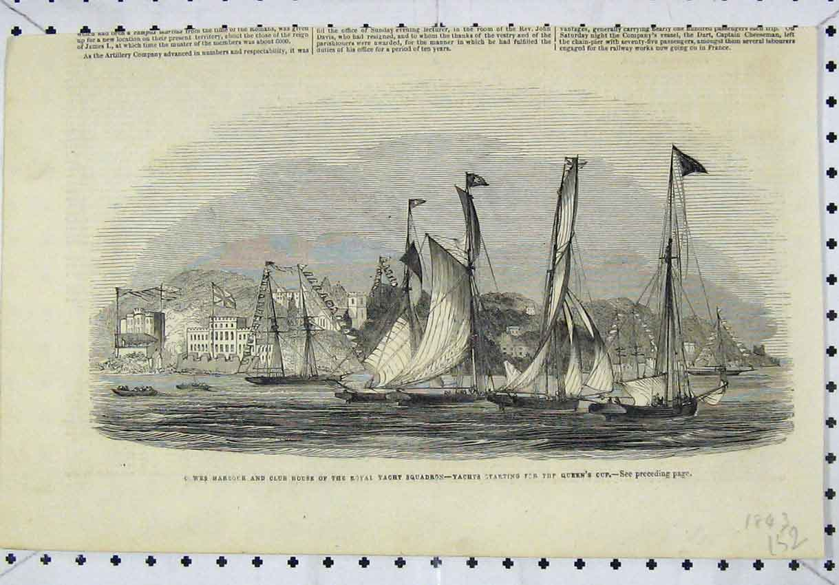 Print 1843 Harbour Club House Royal Yacht Squadron Queens 152B246 Old Original