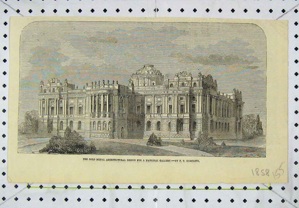 Print 1858 GMedal Architectural Design National Gallery 155B246 Old Original