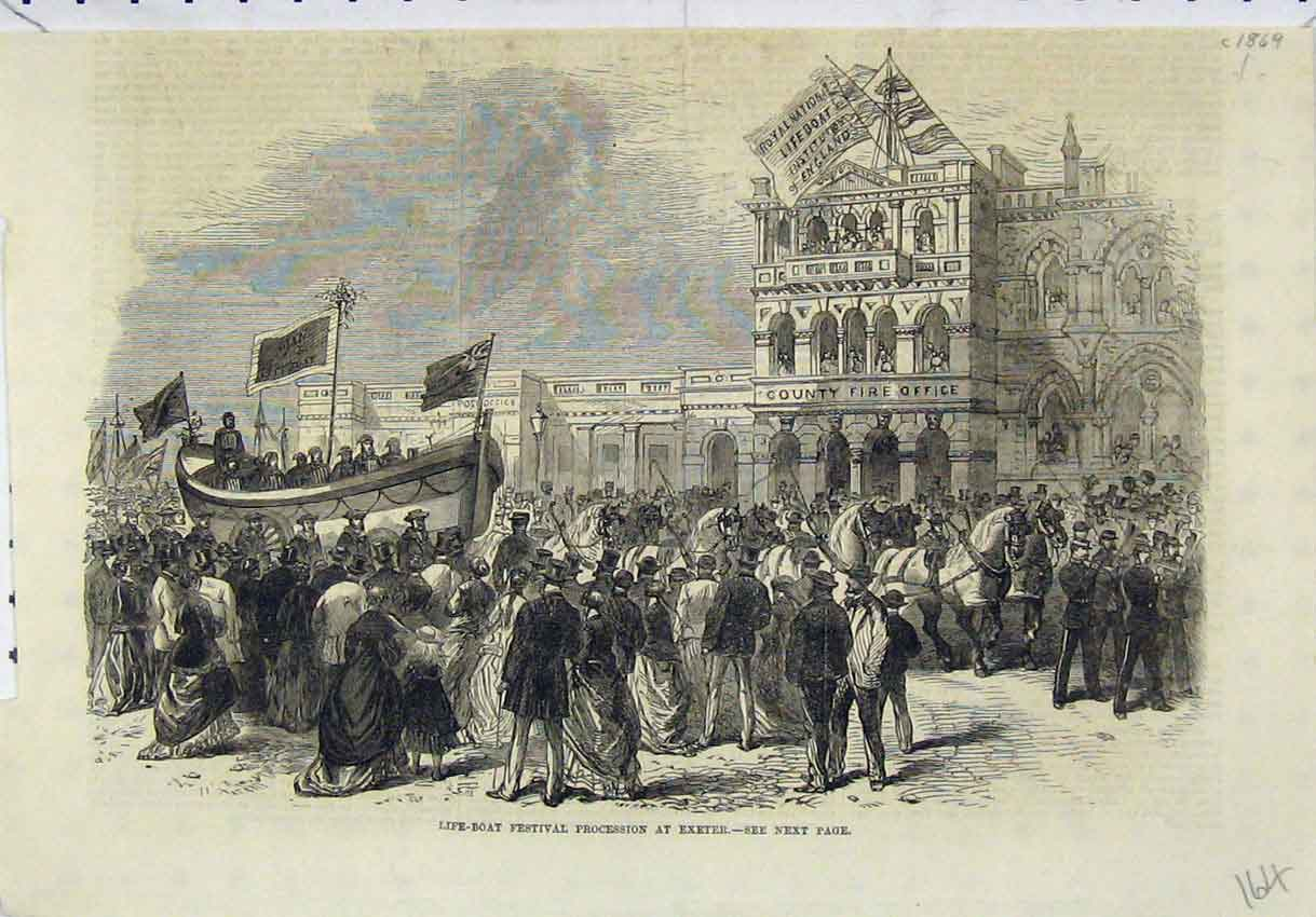 Print Life-Boat Festival Procession Exeter C1869 Fire Office 164B246 Old Original