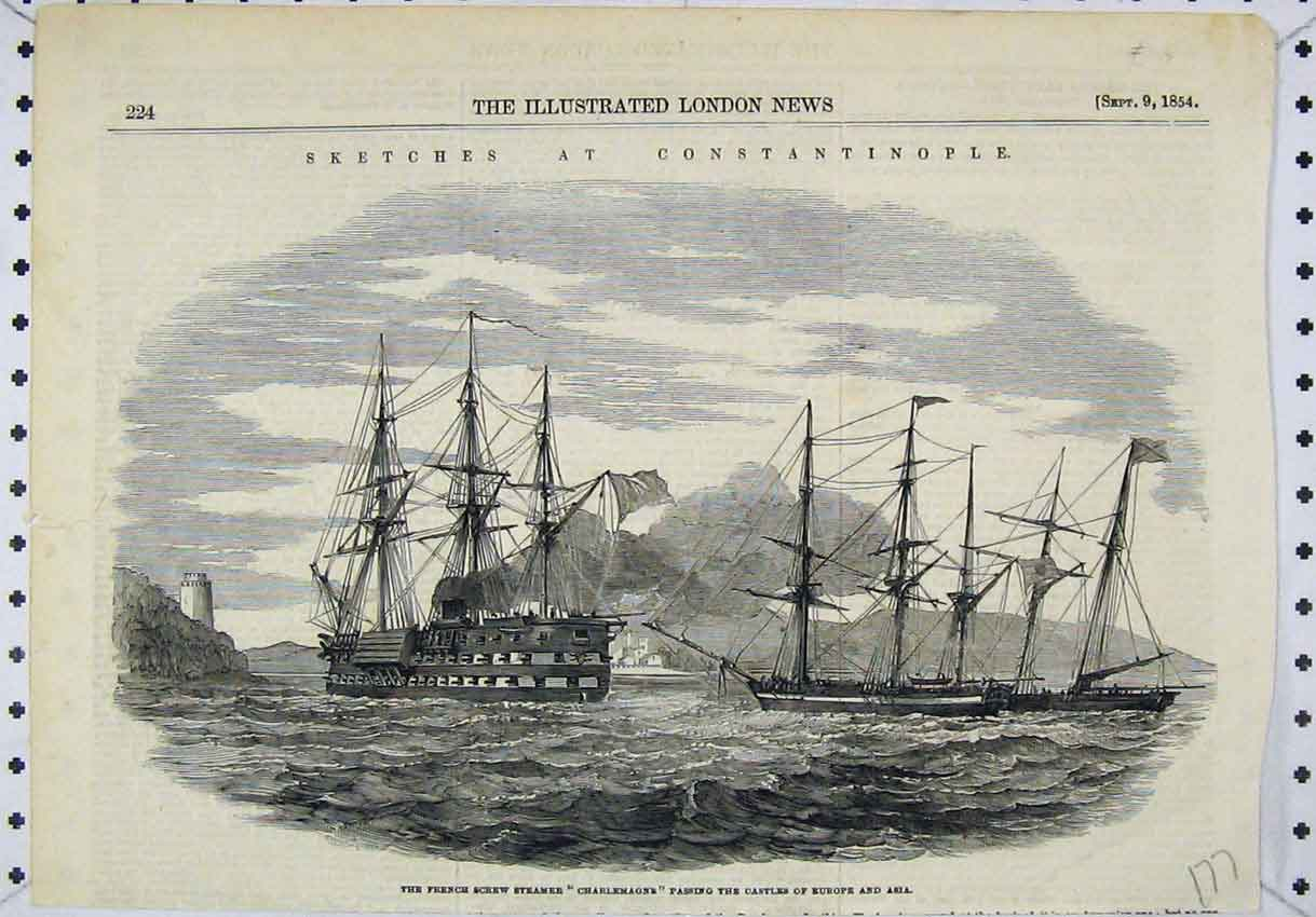 Print 1854 French Screw Steamer Charlemagne Castles Europe 177B246 Old Original