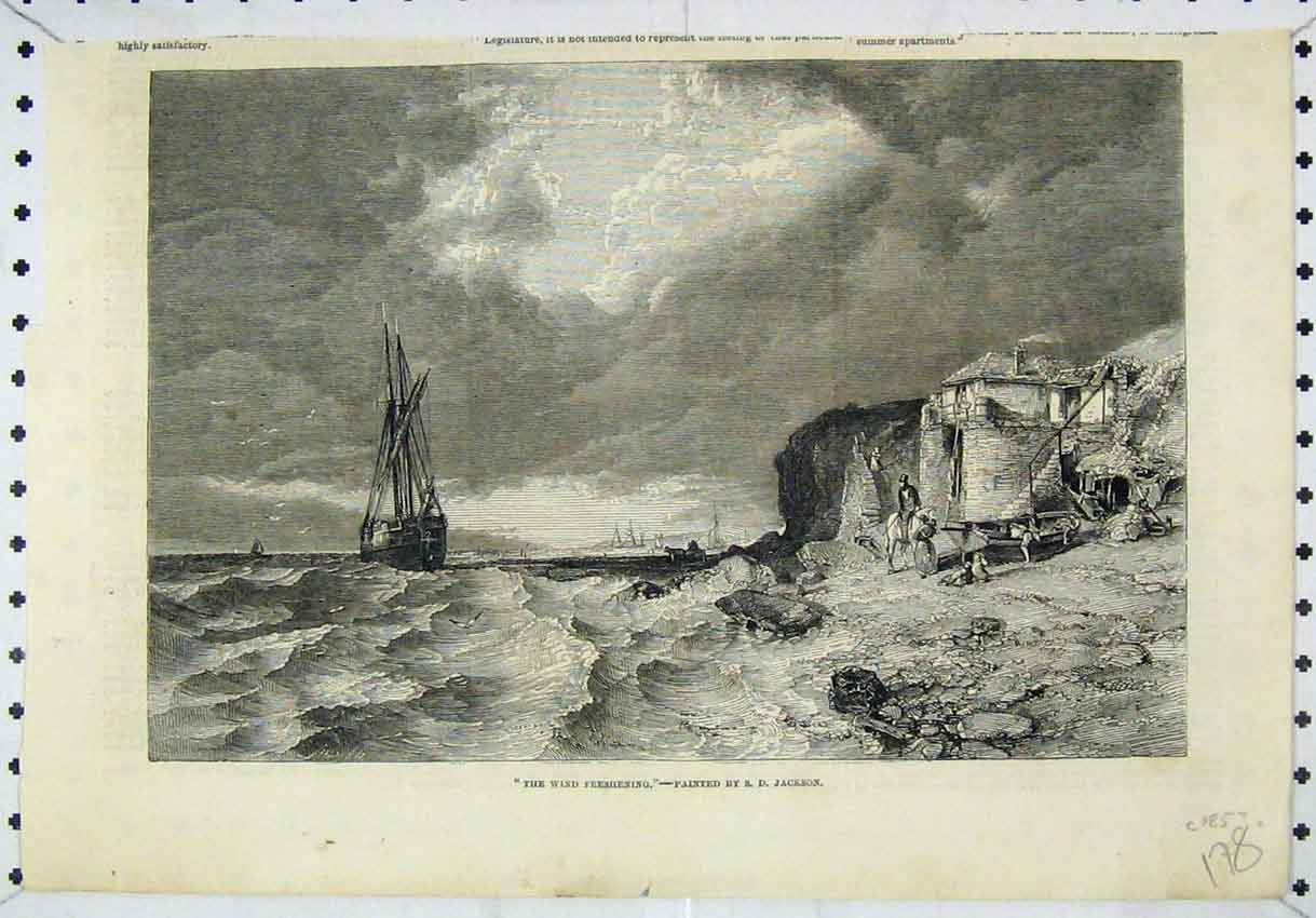 Print Sea Shore Scene Sailing Ship Stormy Sea Man Horse 178B246 Old Original