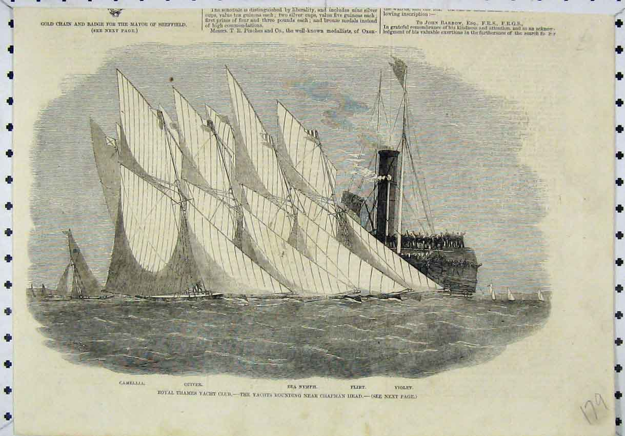 Print Royal Thames Yacht Club Chapman Head Quiver Violet 179B246 Old Original