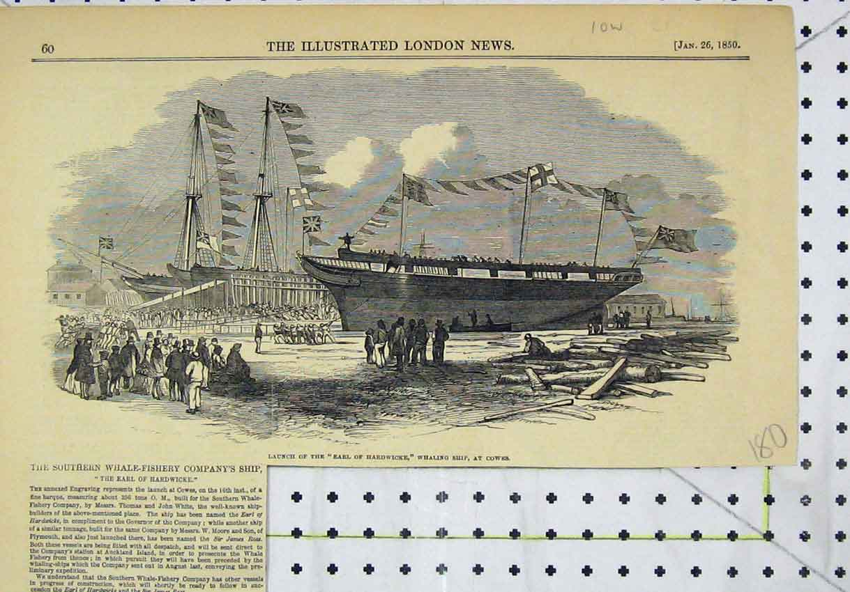 Print 1850 Scene Launch Earl Hardwicke Whaling Ship Cowes 180B246 Old Original