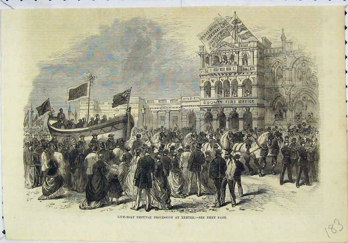 Print Life Boat Festival Procession Exeter Fire Office 183B246 Old Original