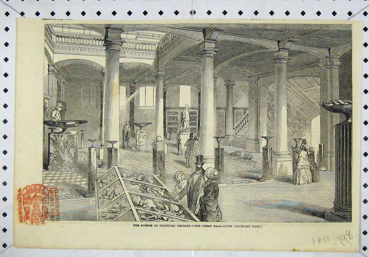 Print Interior Museum Practical Geology Great Hall 1851 198B246 Old Original