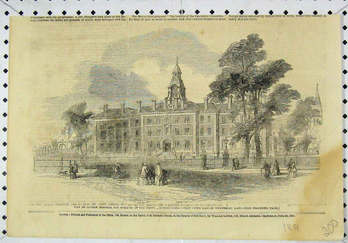 Print London Hospital Diseases Chest Victoria Park 1851 200B246 Old Original