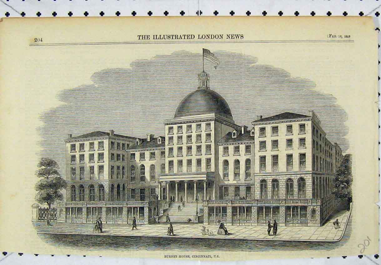 Print 1859 View Burnet House Cincinnati America 201B246 Old Original