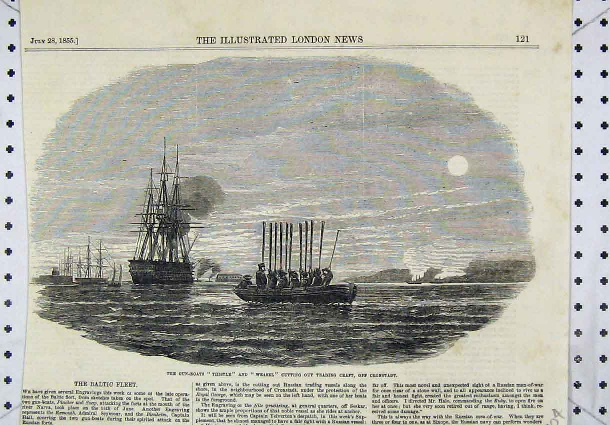 Print 1855 Gun-Boats Thistle Weasel Cutting Trading Craft 204B246 Old Original