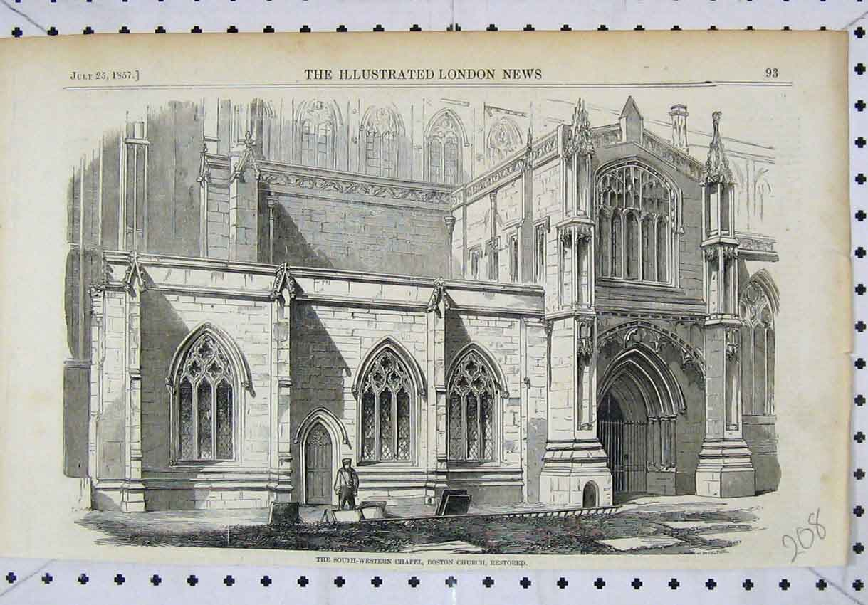 Print 1857 View South-Western Chapel Boston Church Restored 208B246 Old Original