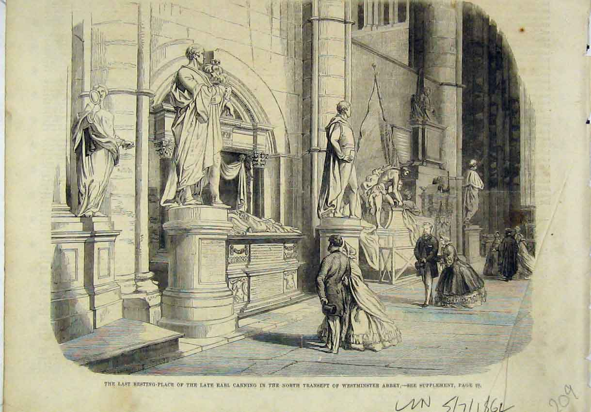 Print 1862 Resting Place Earl Canning Transept Westminster 209B246 Old Original