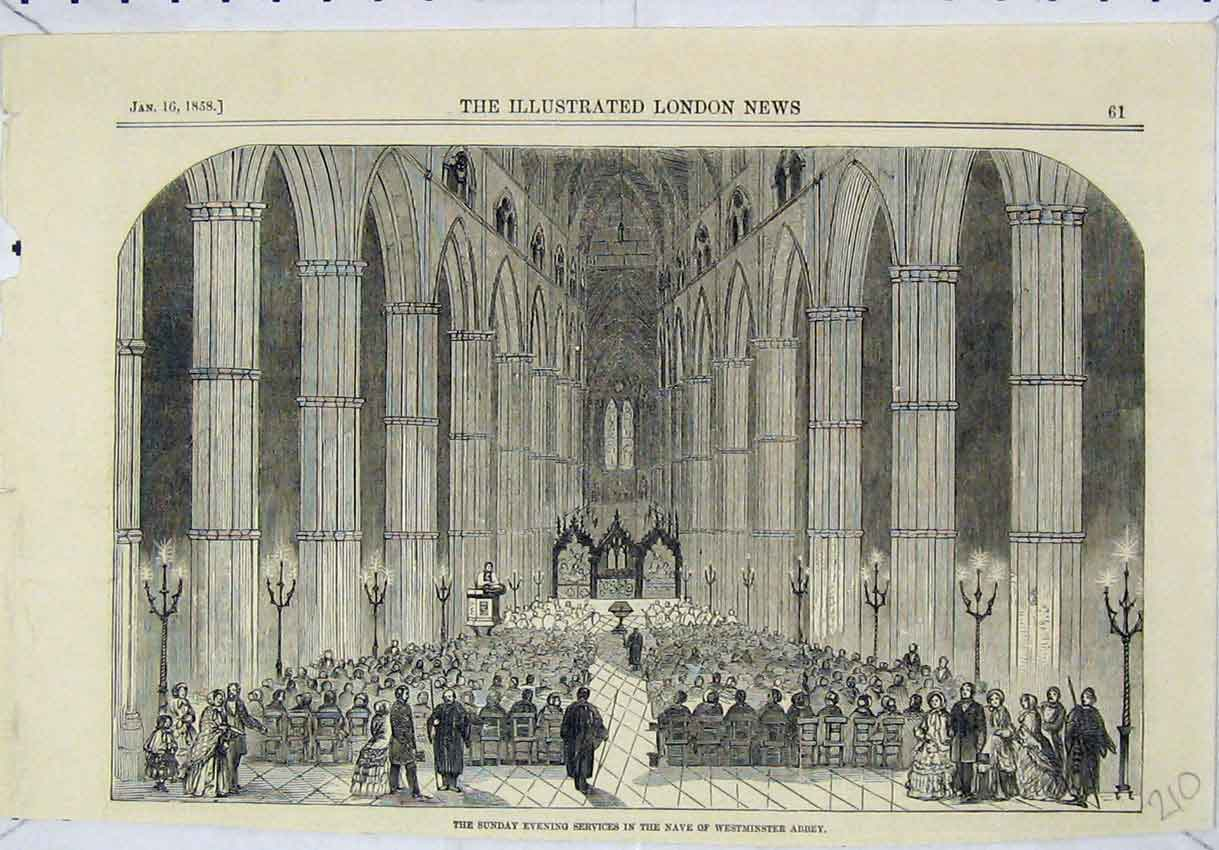 Print 1858 Sunday Evening Services Nave Westminster Abbey 210B246 Old Original