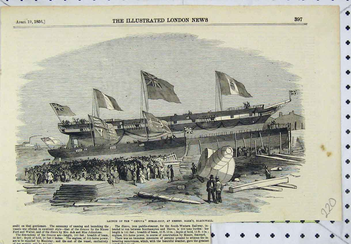 Print 1856 Launch Genova Steam-Ship Mare'S Blackwall 220B246 Old Original