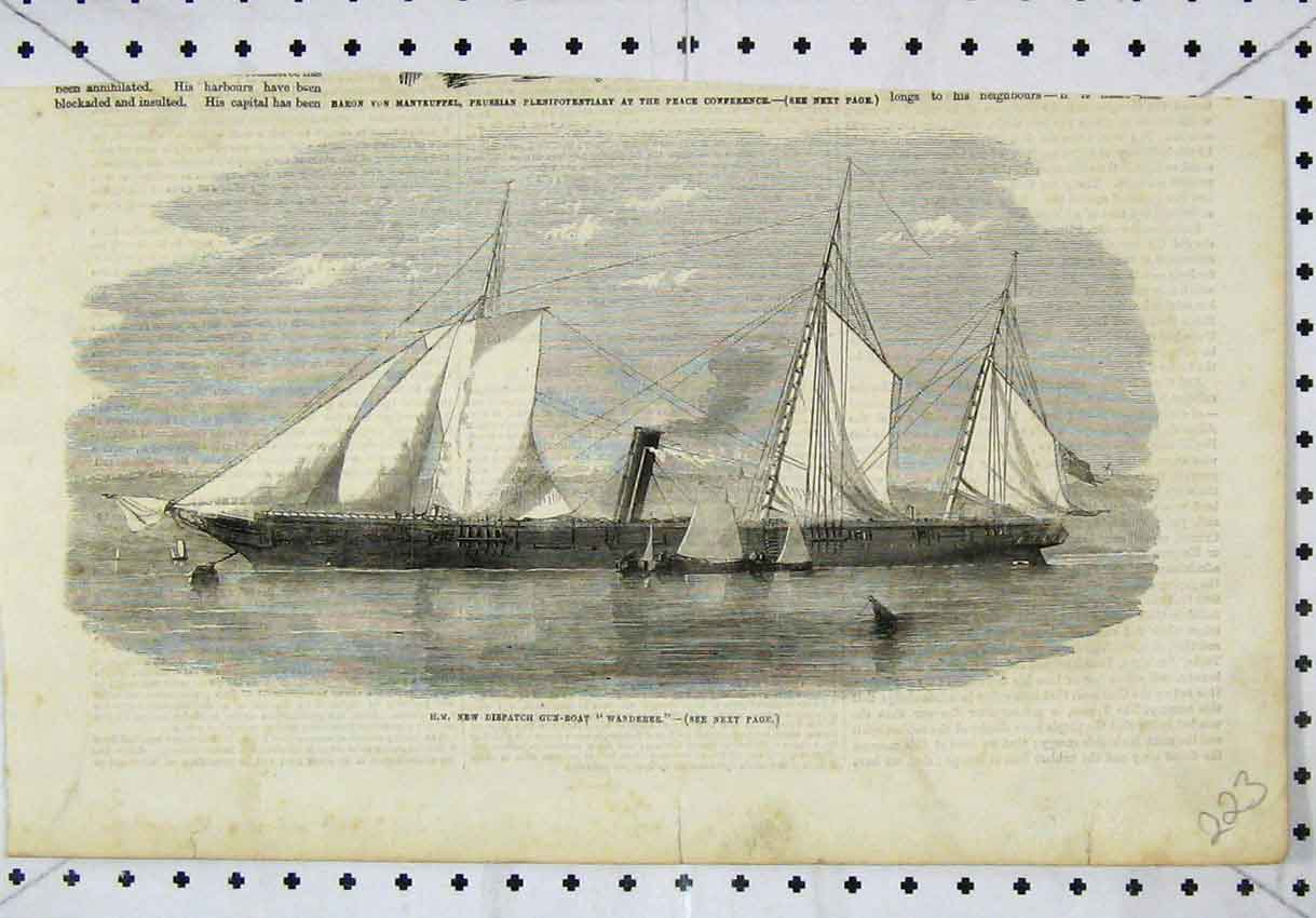 Print View Queen New Dispatch Gun-Boat Wanderer 223B246 Old Original