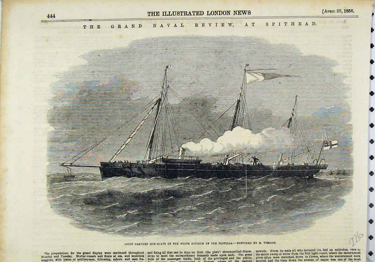 Print 1856 Light Draught Gun-Boats White Division Flotilla 226B246 Old Original