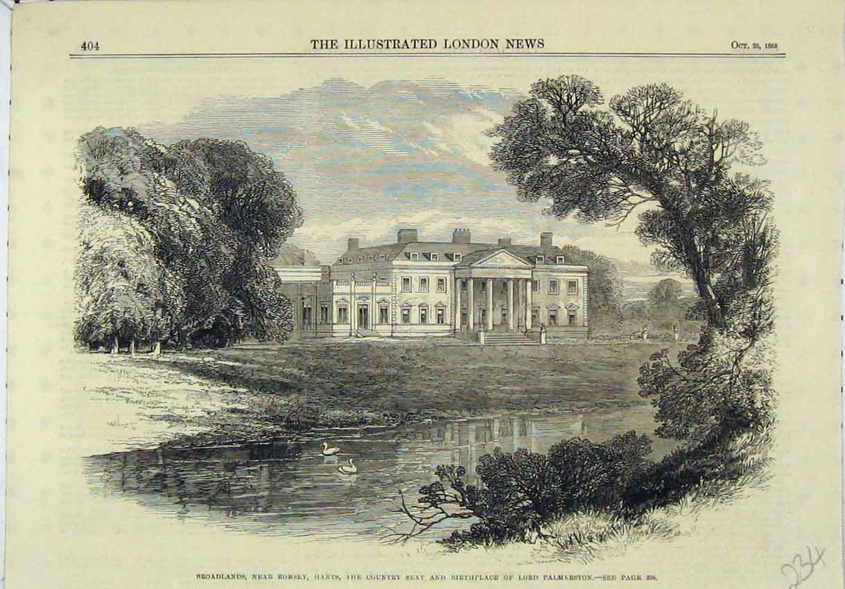 Print Broadlands Country Seat Birthplace Lord Palmerston 234B246 Old Original