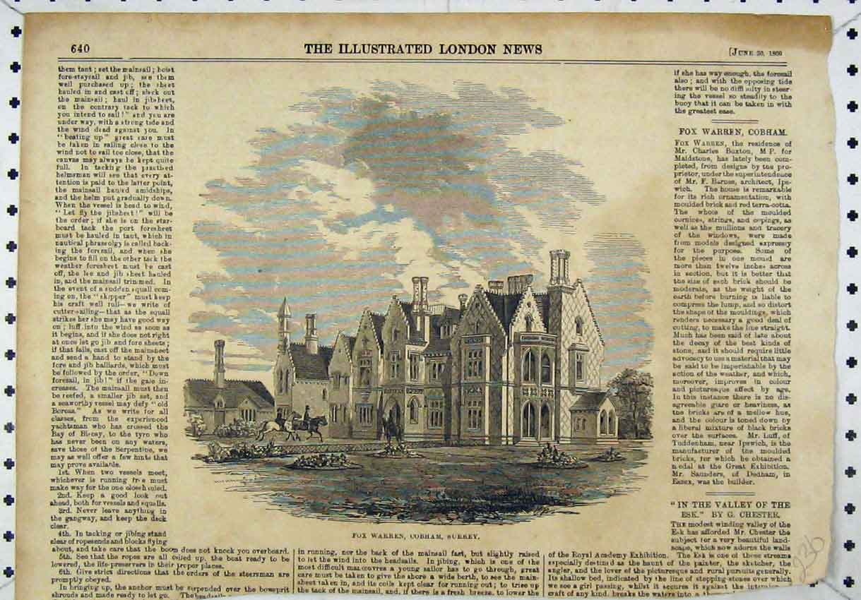 Print 1860 View Fox Warren Cobham Surrey House 236B246 Old Original