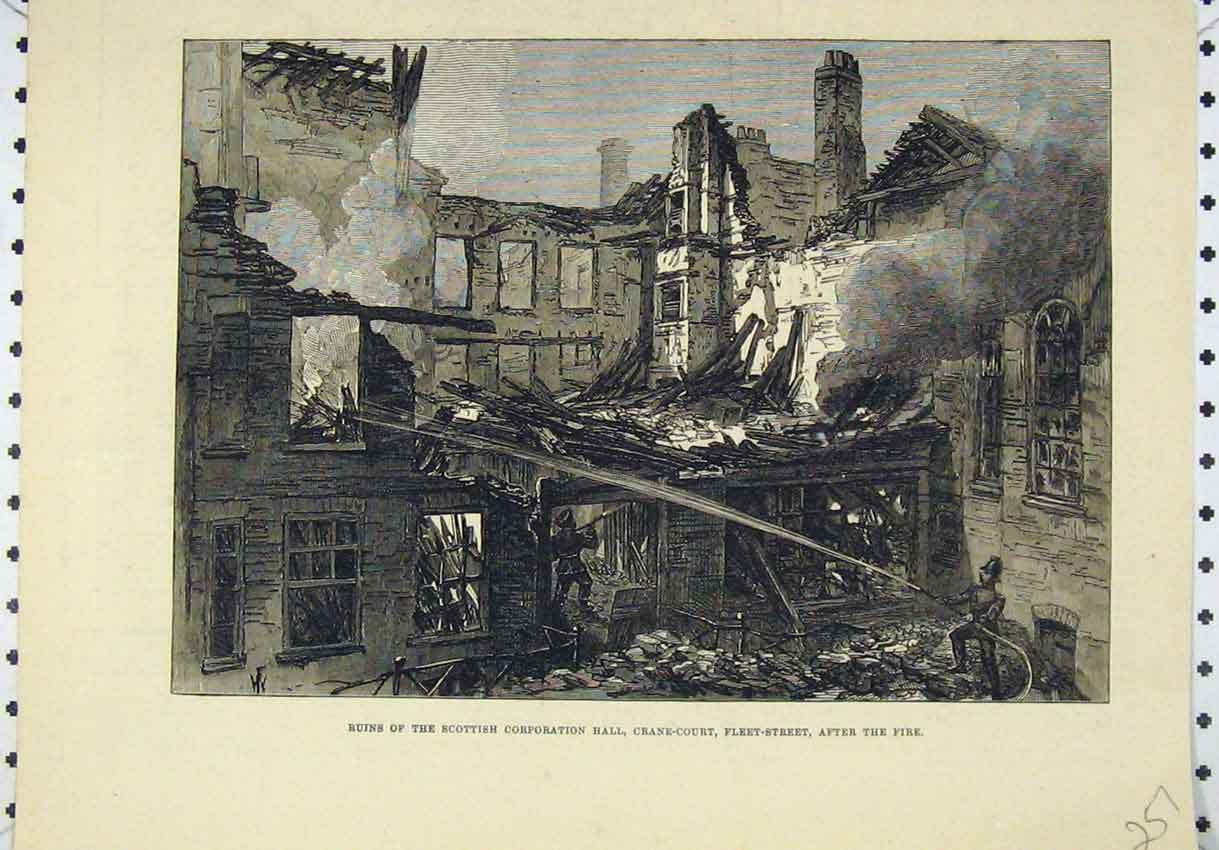 Print Ruins Scottish Corporation Hall Fleet Street London 257B246 Old Original