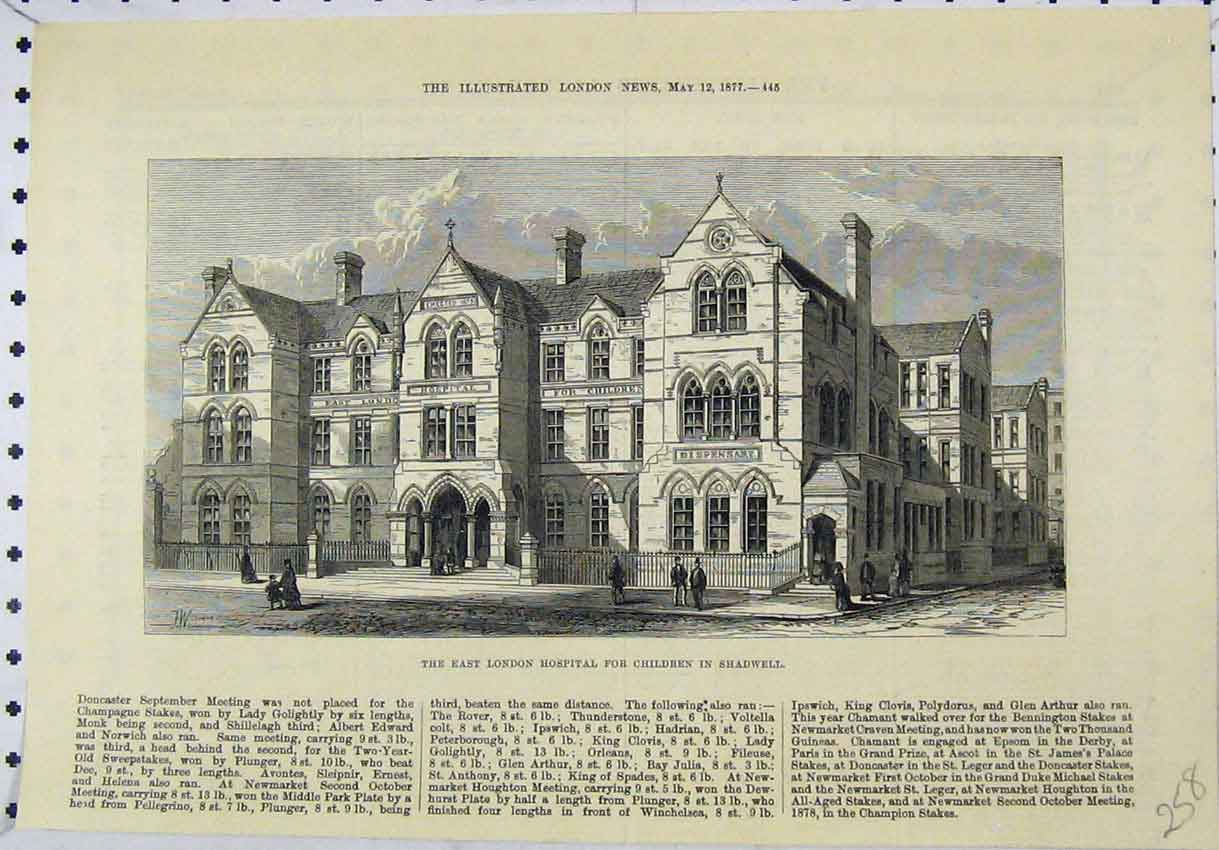 Print 1877 View East London Hospital Children Shadwell 258B246 Old Original