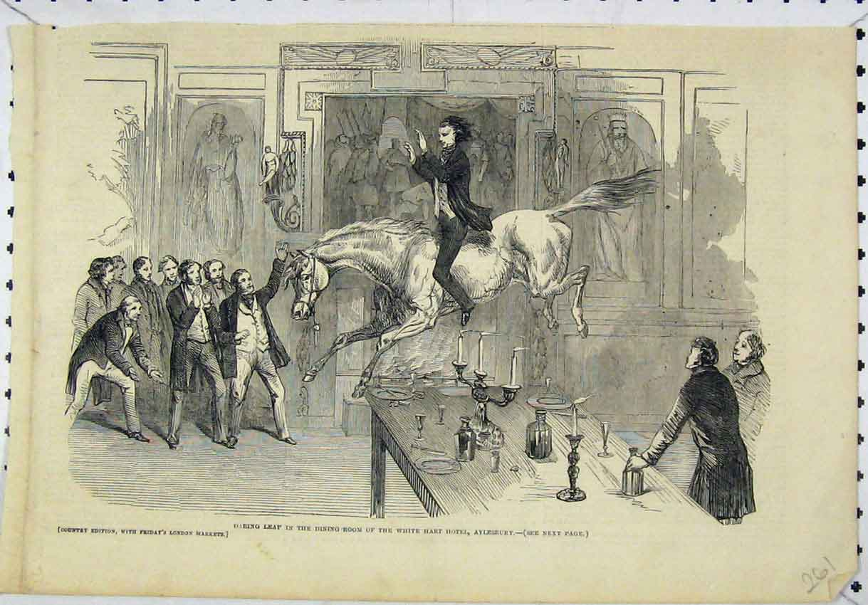 Print Horse Leaping Dining-Room White Heart Hotel Aylesbury 261B246 Old Original