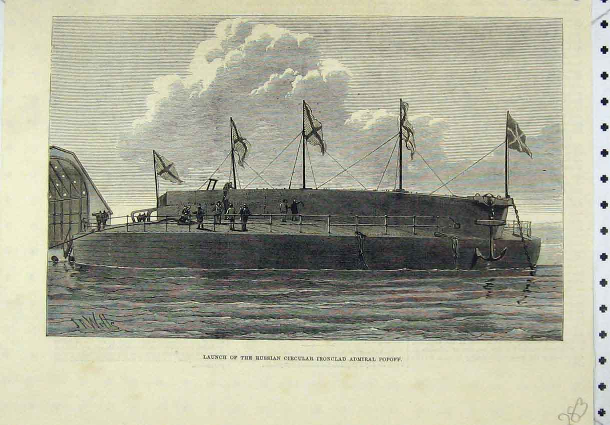 Print Launch Russian Circular Ironclad Admiral Popoff 283B246 Old Original