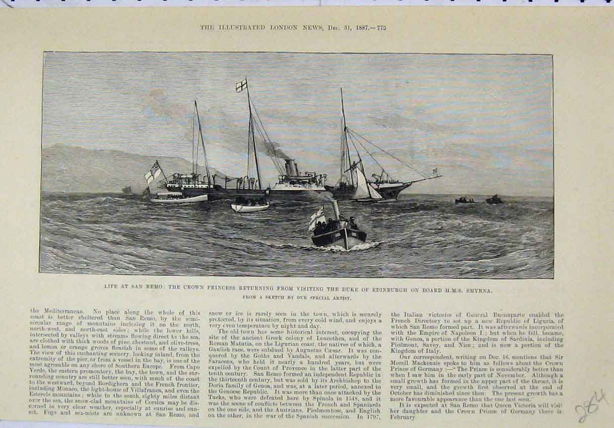 Print 1887 San Remo Crown Princess Duke Edinburgh Smyrna 284B246 Old Original