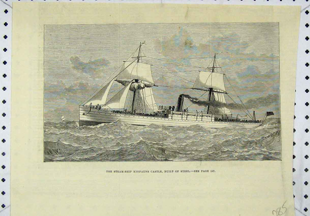 Print View Steam-Ship Kinfauns Castle Built Steel 285B246 Old Original