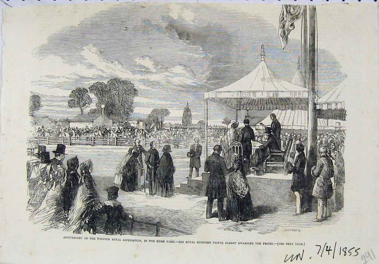 Print Anniversary Windsor Royal Park 1855 Prince Albert Prize 291B246 Old Original