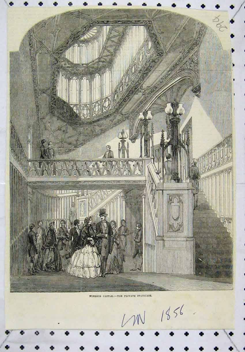 Print 1856 Interior View Windsor Castle Private Staircase 294Ab246 Old Original