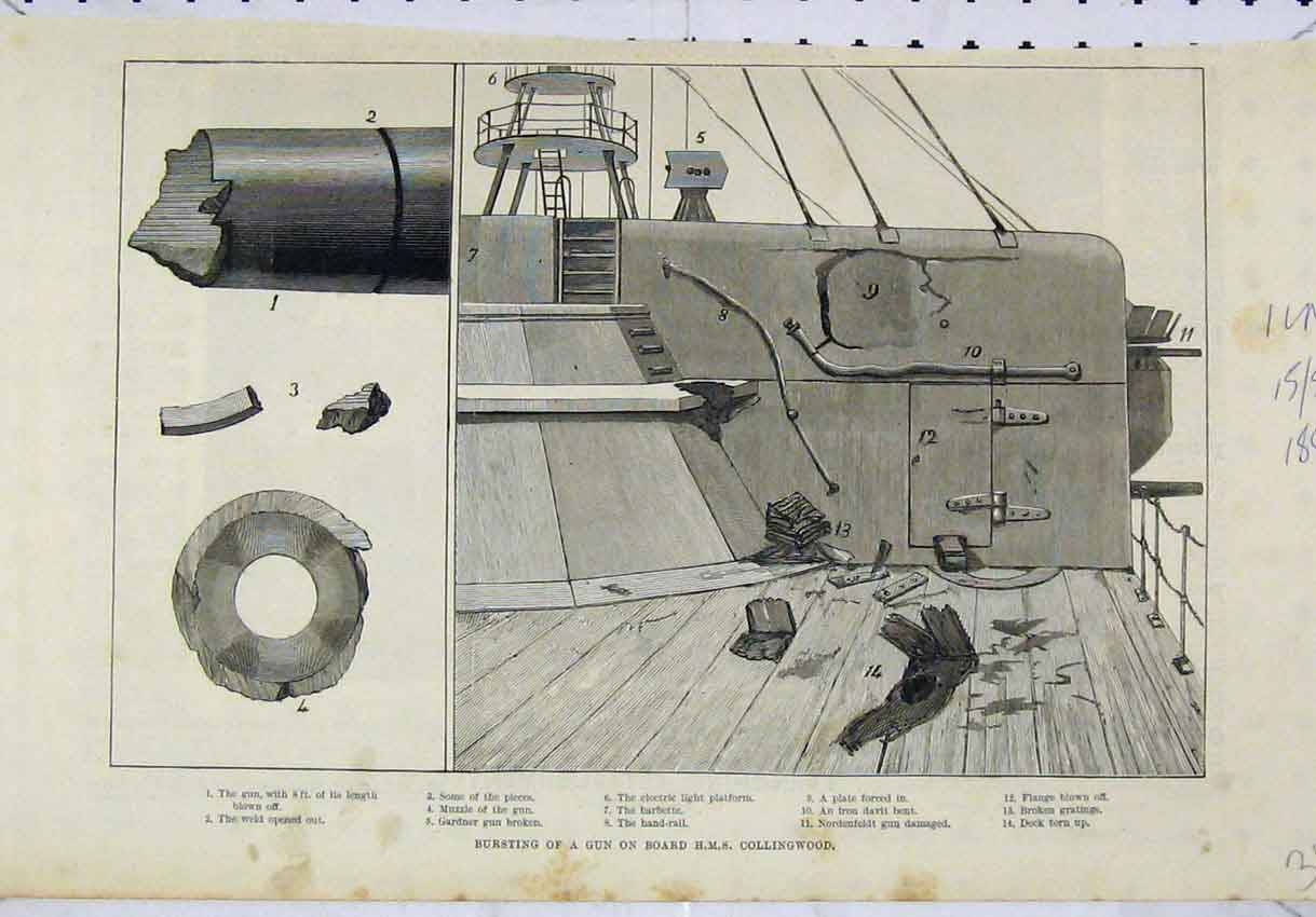 Print 1886 Scene Bursting Gun Deck H. M. S Collingwood Ship 304B246 Old Original