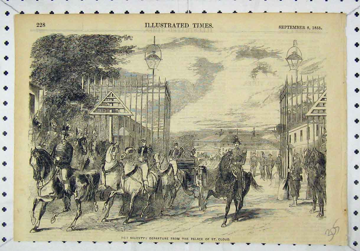 Print Her Majesty Queen Departure Palace St Cloud 1855 305B246 Old Original