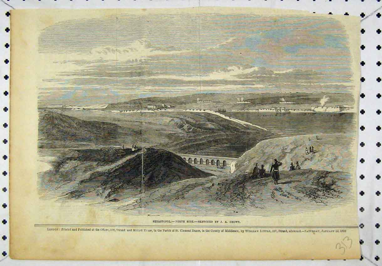 Print View Sebastopol North Side Bridge River 313B246 Old Original