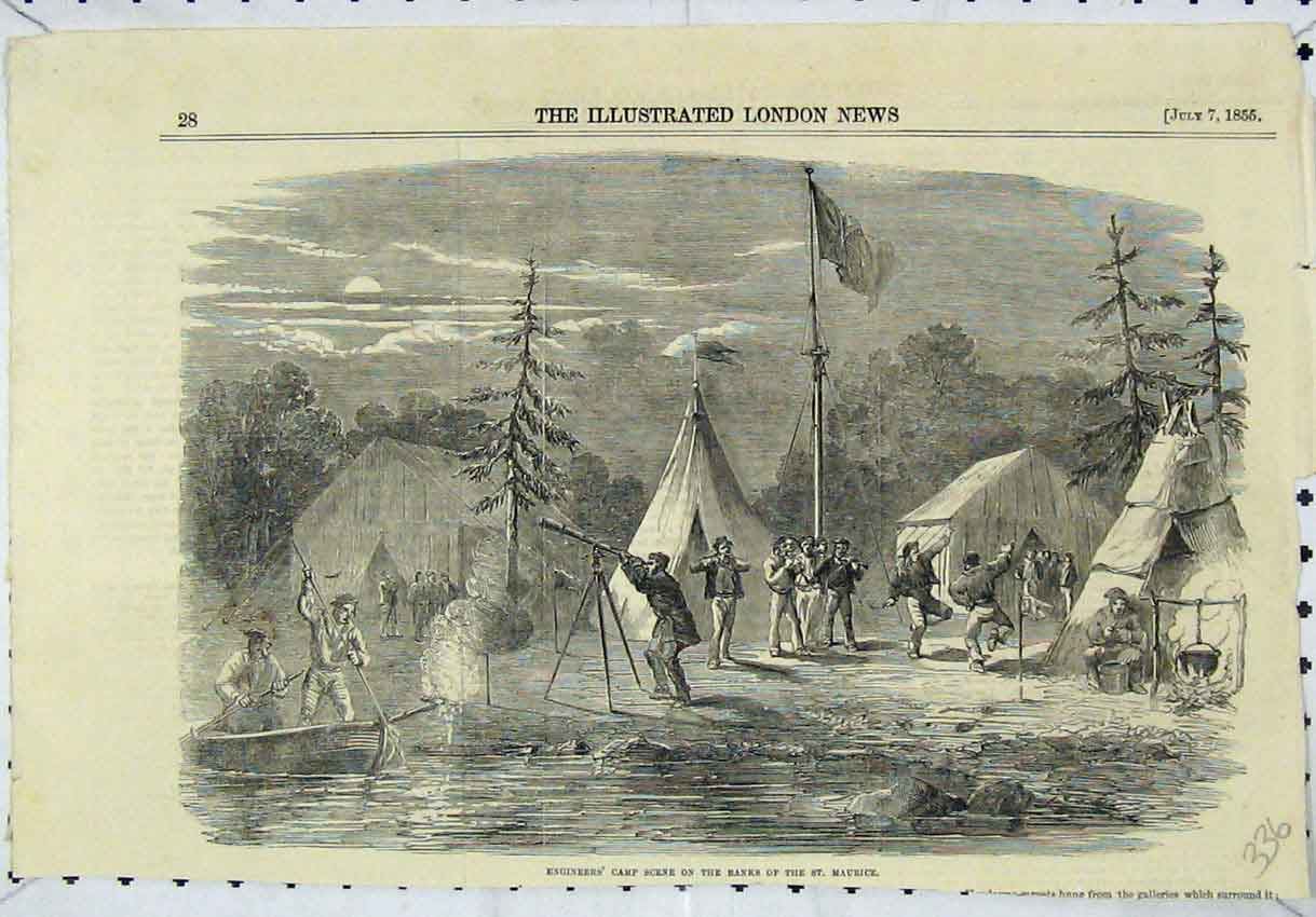 Print 1855 Engineers Camp Banks River St Maurice Boat 336B246 Old Original