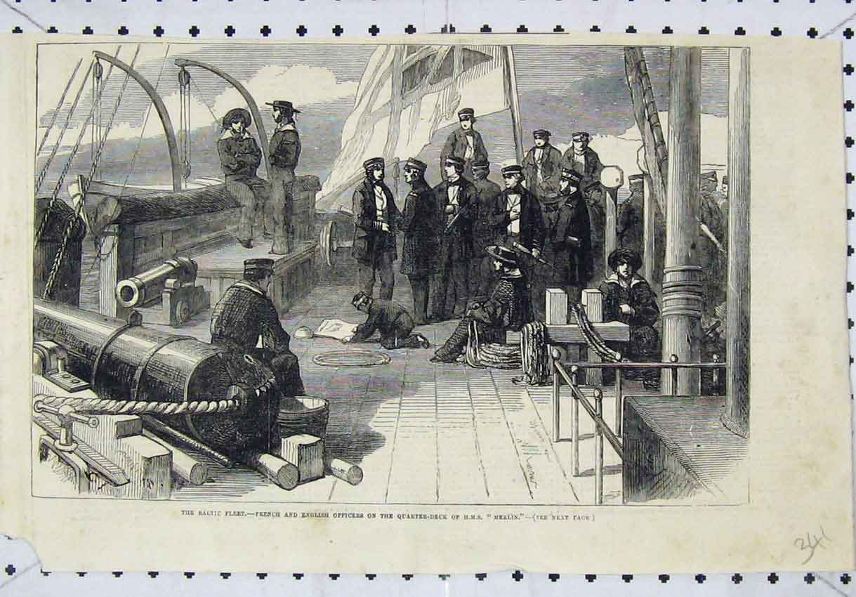 Print Baltic Fleet French English Officers Deck Merlin Ship 341B246 Old Original