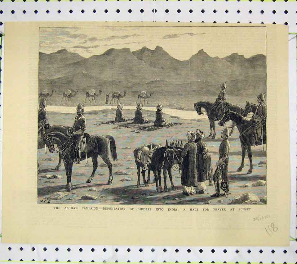Print Afghan Campaign Deportation Sirdars India Prayer Horse 118B247 Old Original