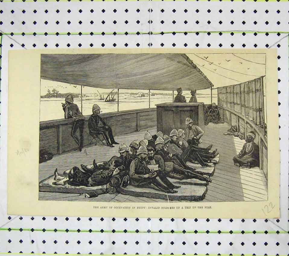 Print Army Occupation Egypt Invalid Soldiers Trip Nile 122B247 Old Original