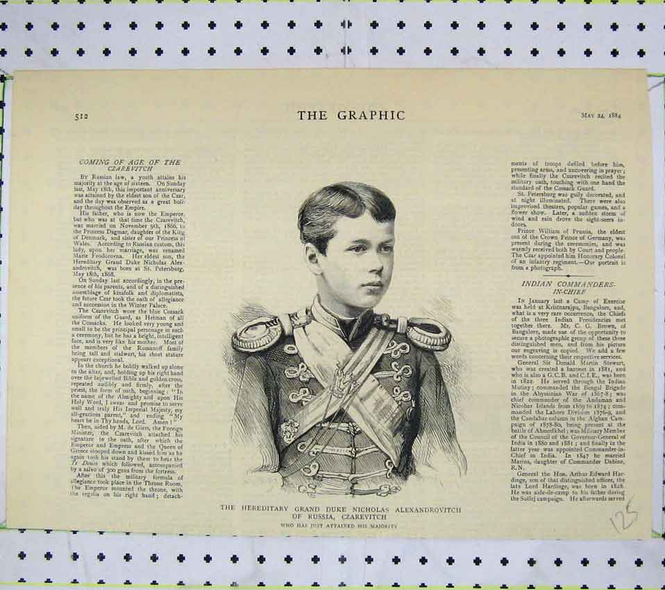 Print 1884 Portrait Grand Duke Nicholas Russia Czarevitch 125B247 Old Original