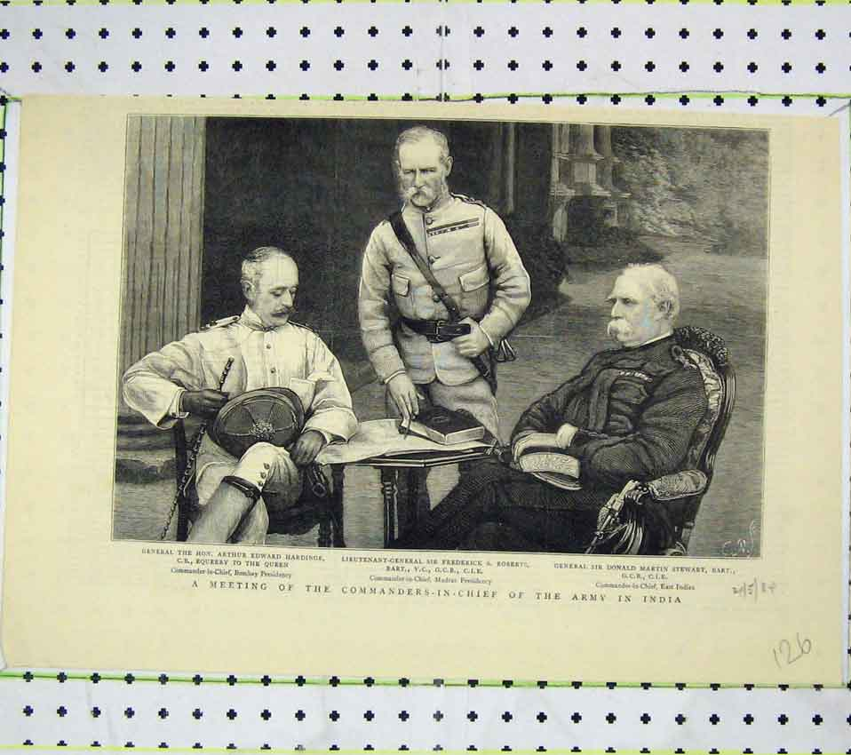 Print Meeting Commanders-In-Chief Army India Roberts Stewart 126B247 Old Original