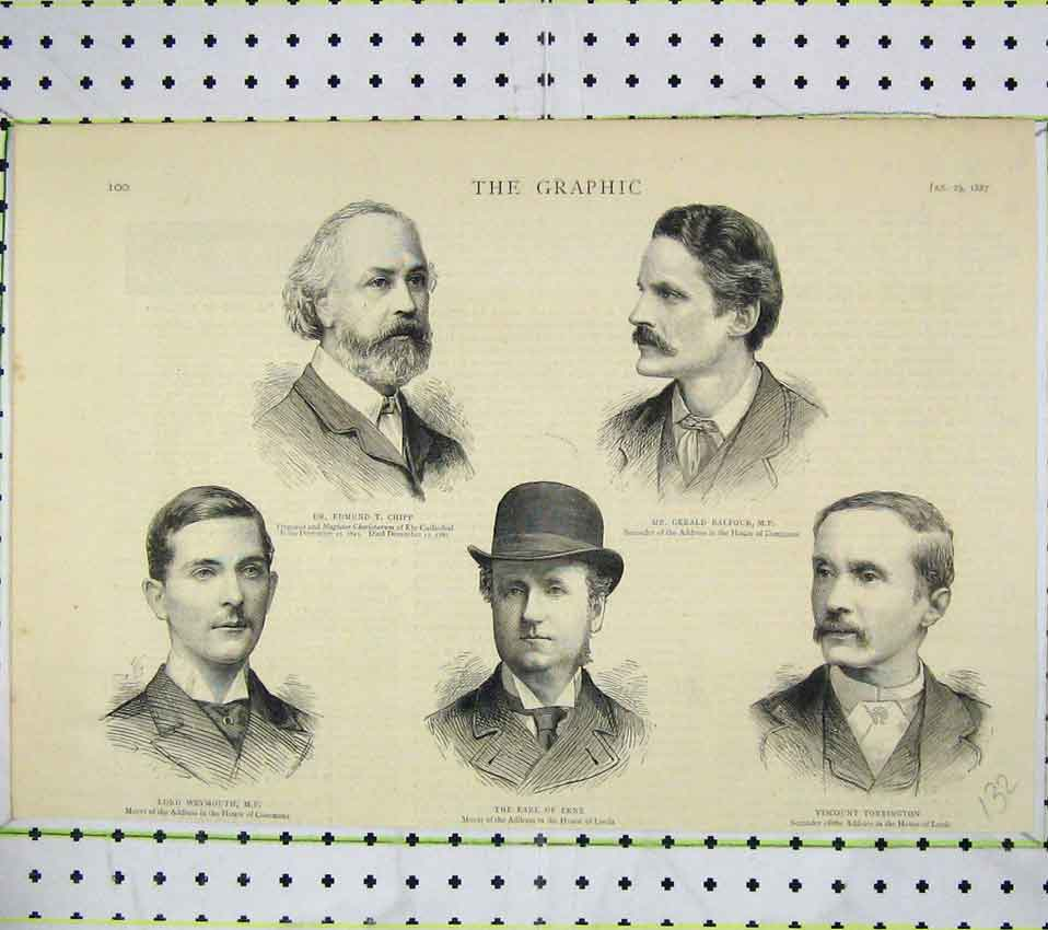 Print 1887 Chipp Balfour Torrington Earl Erne Weymouth Men 132B247 Old Original