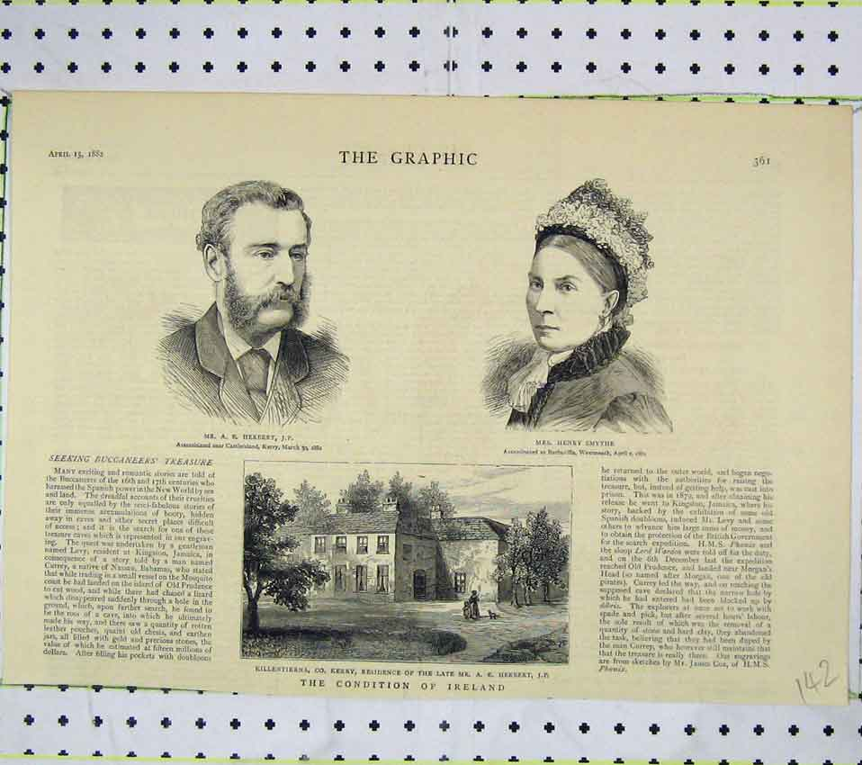 Print Killentierna 1882 Mr Herbert Mrs Henry Smythe Ireland 142B247 Old Original