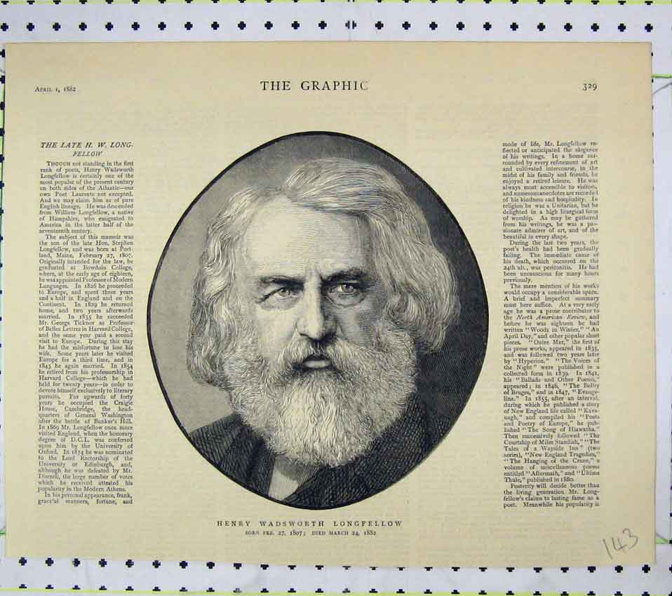 Print 1882 Portrait Henry Wadsworth Longfellow 143B247 Old Original